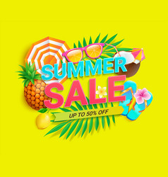 Bright sale banner for summer 2021 shopping vector