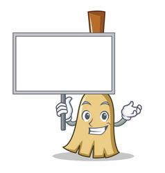 bring board broom character cartoon style vector image