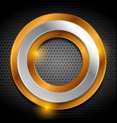 bronze and silver rings on metallic perforated vector image