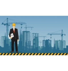Builder man manager worker on the constructions vector