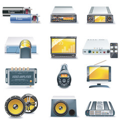 Car stereo icons vector