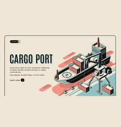 Cargo port isometric landing page template vector