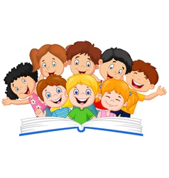 Cartoon little kid reading book funny vector image