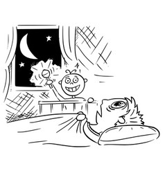 Cartoon of baby not sleeping at night and mother vector