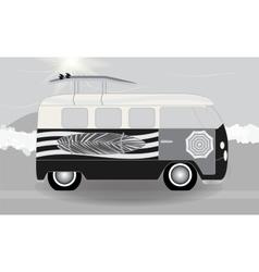 cartoon van with surfboards standing in road vector image