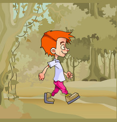 cartoon walking in the forest red haired boy vector image