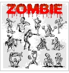 Cartoon zombie - set vector