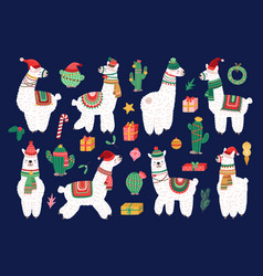 christmas alpaca funny winter llama holiday cute vector image