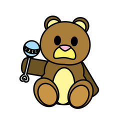 Color bear teddy cute toy with rattle vector