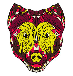 colorful dog zentangle stylized head vector image