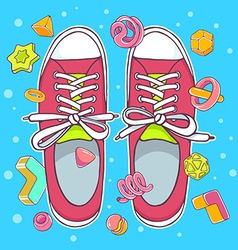 Colorful of red gumshoes on blue background vector