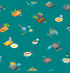 cooking or preparation food seamless pattern vector image