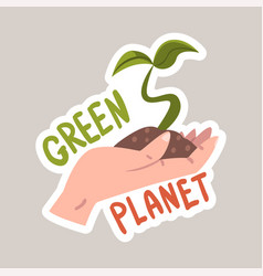 creen planet tagline sticker cartoon vector image