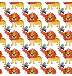 Cute floral seamless pattern with wild cute lion vector
