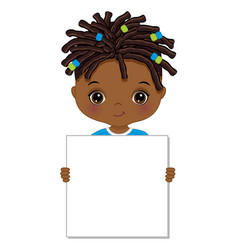 Cute little african american holding frame vector