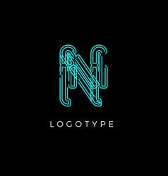 Cyber letter n for digital technology logo concept vector