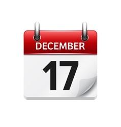December 17 flat daily calendar icon vector