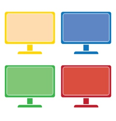 desktop computer colored set vector image
