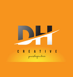 Dh d h letter modern logo design with yellow vector