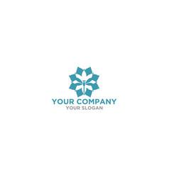 dragonfly flower logo design vector image