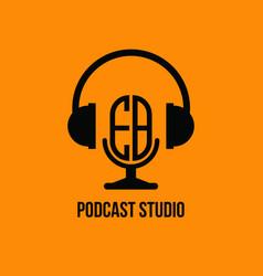 Eb monogram headphone and microphone style vector