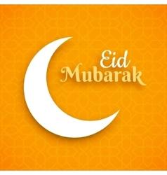 Eid Mubarak greeting card crescent moon on vector image