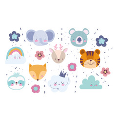faces elephant fox tiger deer koala flowers vector image