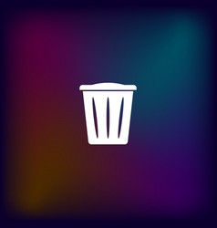 Flat paper cut style icon of trash can vector