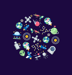 flat space icons in circle shape vector image