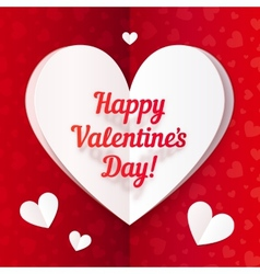 Folded paper heart with Happy Valentines Day text vector image