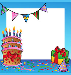 frame with birthday theme 2 vector image