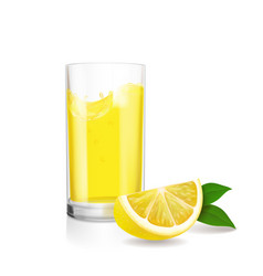 Fruit lemon juice fresh in glass vector