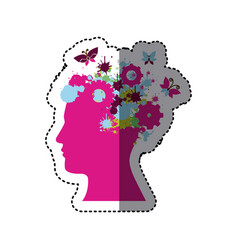 fuchsia contour human with colors gear icon vector image