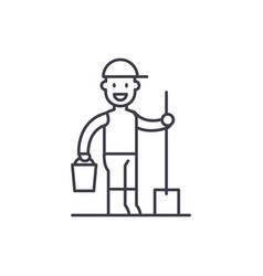 gardener line icon concept gardener linear vector image