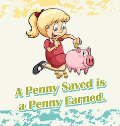 Girl putting money in piggy vector