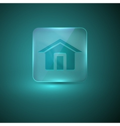 Glass icon with home sign vector