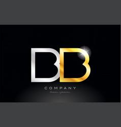 Gold silver alphabet letter bb b b combination vector