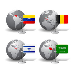 Gray earth globes with designation of venezuela vector