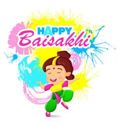 Happy baisakhi woman concept banner cartoon style vector