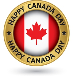 Happy Canada Day gold label vector