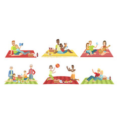 happy families having picnic in park set people vector image