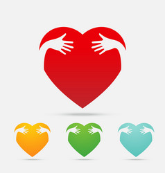 Heart hug four color on white background vector