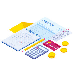 isometric pay bills online concept modern vector image