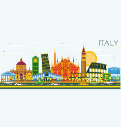 Italy city skyline with color landmarks vector