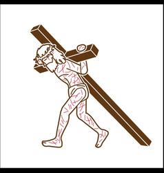 jesus christ carrying cross cartoon graphic vector image