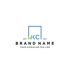 Letter kc square logo finance design vector