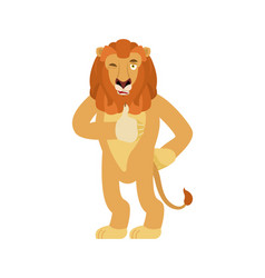 Lion thumbs up and winks emoji wild animal happy vector