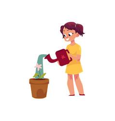 Little girl watering houseplant pot flower vector