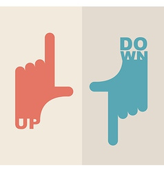 logo hand Shows direction up and down vector image vector image