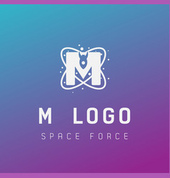 M initial space force logo design galaxy rocket vector